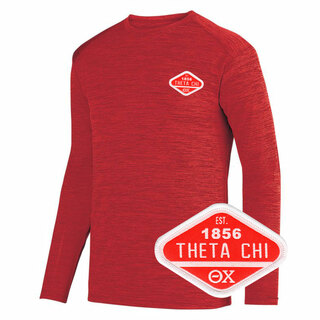 DISCOUNT-Theta Chi Woven Emblem Greek Dry Fit Tonal Long Sleeve Tee