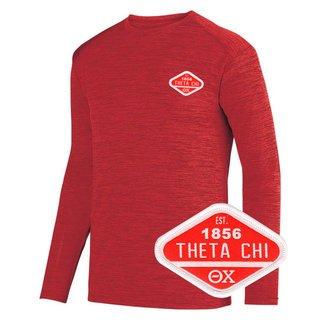 DISCOUNT-Theta Chi Woven Emblem Greek Dry Fit Tonal Long Sleeve Tee