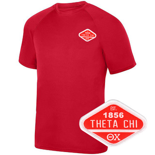 DISCOUNT-Theta Chi Woven Emblem Greek Dry Fit Wicking Tee