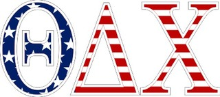 "Theta Delta Chi American Flag Greek Letter Sticker - 2.5"" Tall"