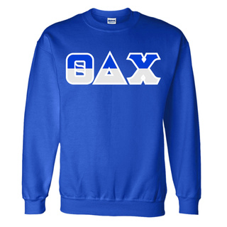 Theta Delta Chi Two Tone Greek Lettered Crewneck Sweatshirt