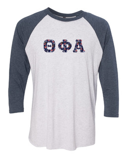 Theta Phi Alpha Unisex Tri-Blend Three-Quarter Sleeve Baseball Raglan Tee