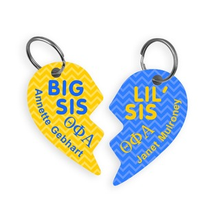 Theta Phi Alpha Big & Little Heart Halve Key Chains (2)