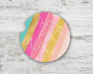 Theta Phi Alpha Bright Stripes Sandstone Car Cup Holder Coaster