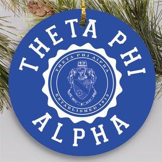 Theta Phi Alpha Round Christmas Shield Ornament