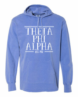 Theta Phi Alpha Comfort Colors Terry Scuba Neck Custom Hooded Pullover