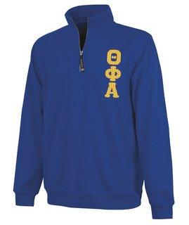 Theta Phi Alpha Crosswind Quarter Zip Twill Lettered Sweatshirt