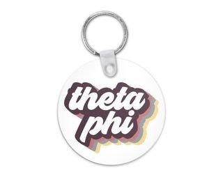 Theta Phi Alpha Retro Script Keychain