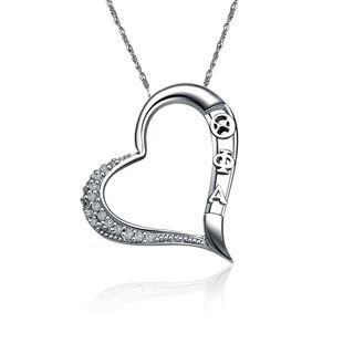 Theta Phi Alpha Embedded Heart Silver  Lavaliere