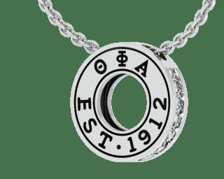 Theta Phi Alpha Eternity Silver Charm Lavalier