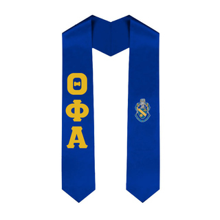 Theta Phi Alpha Greek Lettered Graduation Sash Stole With Crest