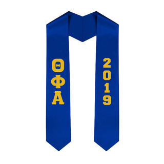 Theta Phi Alpha Greek Lettered Graduation Sash Stole With Year - Best Value