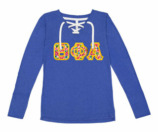 Theta Phi Alpha LAT - Sorority Fine Jersey Lace-Up Long Sleeve T-Shirt