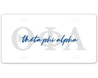 Theta Phi Alpha Letter Script License Plate