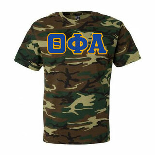 DISCOUNT-Theta Phi Alpha Lettered Camouflage T-Shirt
