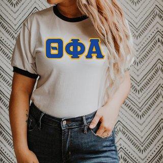 DISCOUNT-Theta Phi Alpha Lettered Ringer Shirt
