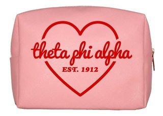 Theta Phi Alpha Pink with Red Heart Makeup Bag