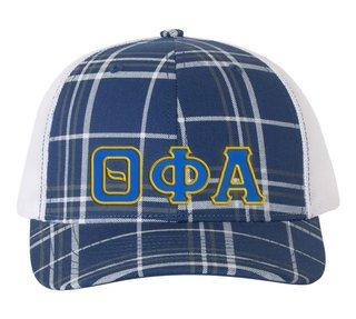 Theta Phi Alpha Plaid Snapback Trucker Hat - CLOSEOUT
