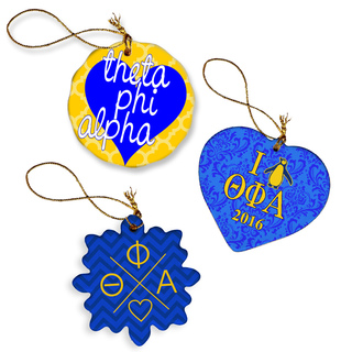 Theta Phi Alpha Porcelain Ornament Trio Set
