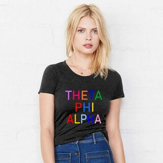 Theta Phi Alpha Rainbow Triblend Short Sleeve Tee