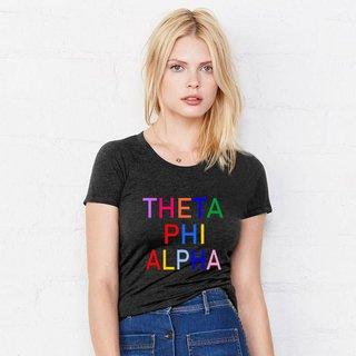 Theta Phi Alpha Rainbow Triblend Short Sleeve Tee