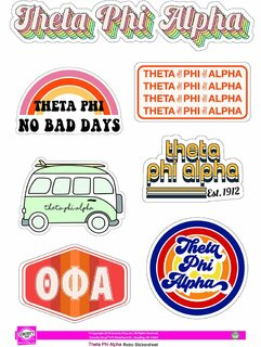 Theta Phi Alpha Retro Sticker Sheet