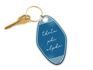 Theta Phi Alpha Script Motel Keychain