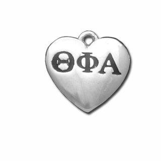 Theta Phi Alpha Silver Greek Heart Charm