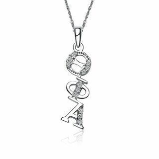Theta Phi Alpha Sterling Silver Diagonal Lavaliere set with Lab-Created Diamonds