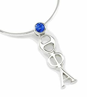 Theta Phi Alpha Sterling Silver Lavaliere Pendant with Swarovski Blue Crystal