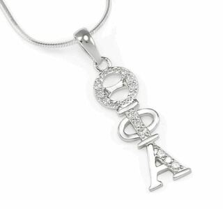 Theta Phi Alpha Sterling Silver Lavaliere set with Lab-Created Diamonds