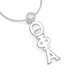 Theta Phi Alpha Sterling Silver Lavaliere with Swarovski Clear Crystal