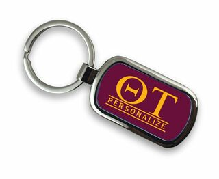 Theta Tau Chrome Letter Key Chain