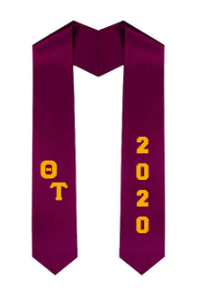 Theta Tau Greek Diagonal Lettered Graduation Sash Stole With Year