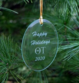 Theta Tau Holiday Glass Oval Ornaments