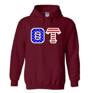 Theta Tau Greek Letter American Flag Hoodie