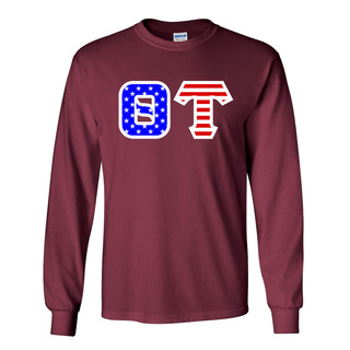 Theta Tau Greek Letter American Flag long sleeve tee