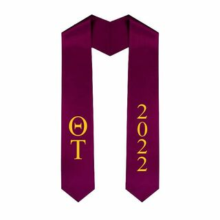 Theta Tau Greek Lettered Graduation Sash Stole With Year - Best Value