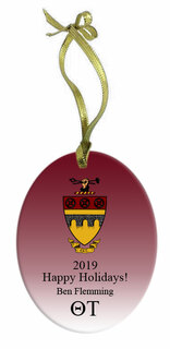Theta Tau Holiday Color Crest - Shield Glass Ornament