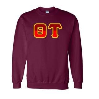 Theta Tau Two Tone Greek Lettered Crewneck Sweatshirt