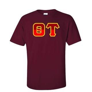 Theta Tau Two Tone Greek Lettered T-Shirt