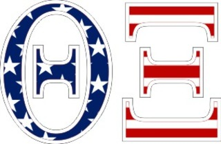"Theta Xi American Flag Greek Letter Sticker - 2.5"" Tall"