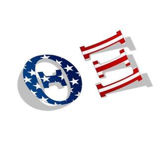 """Theta Xi American Flag Greek Letter Sticker - 2.5"""" Tall"""