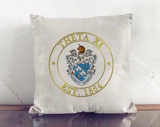Theta Xi Crest Linen Pillow