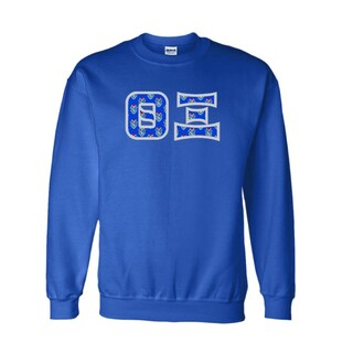 Theta Xi Fraternity Crest - Shield Twill Letter Crewneck Sweatshirt