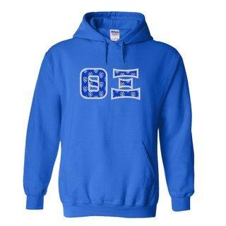 Theta Xi Fraternity Crest - Shield Twill Letter Hooded Sweatshirt