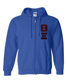 "Theta Xi Heavy Full-Zip Hooded Sweatshirt - 3"" Letters!"