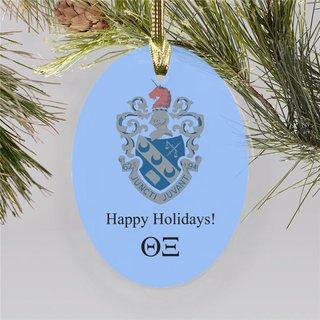 Theta Xi Holiday Color Crest - Shield Ornament
