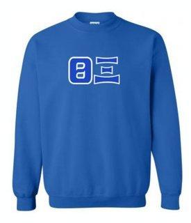 Theta xi Sewn Lettered Crewneck Sweatshirt