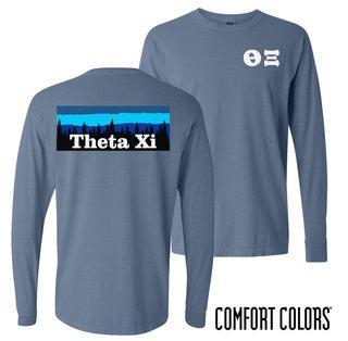 Theta Xi Outdoor Long Sleeve T-shirt - Comfort Colors